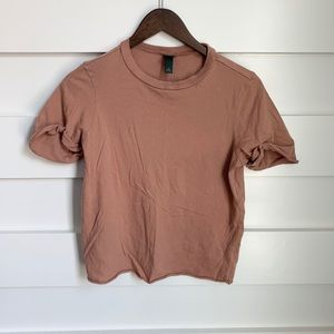 WILD FABLE // Tan-Pink Scoop Neck Short Sleeve